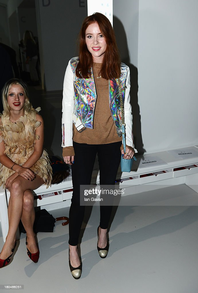 Presenter Angela Scanlon attends the DAKS show during London Fashion Week SS14 at BFC Courtyard Showspace on September 13, 2013 in London, England.