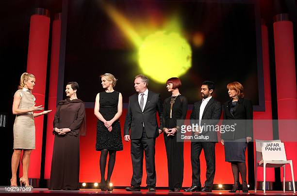 presenter Anke Engelke and jury members Isabella Rossellini Nina Hoss Guy Maddin Sandy Powell Aamir Khan and Jan Chapman attend the Award Ceremony...