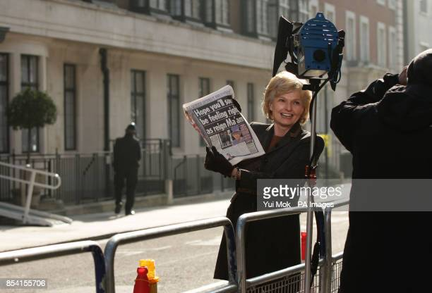 Presenter Ann Macmillan of CBC outside the King Edward VII Hospital in London where Queen Elizabeth II is continuing her recovery after being...