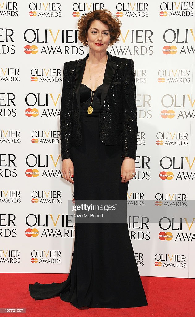 Presenter Anna Chancellor poses in the press room at The Laurence Olivier Awards 2013 at The Royal Opera House on April 28, 2013 in London, England.