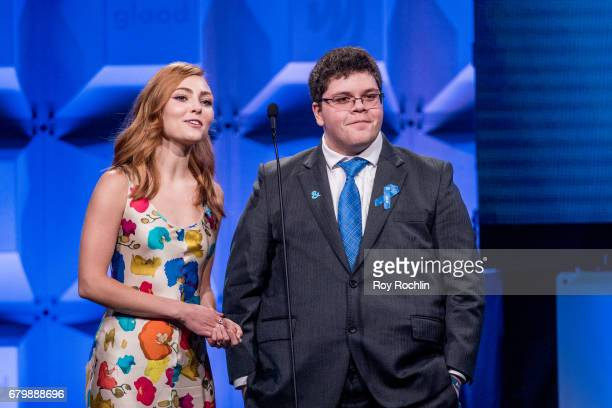 Presenter AnnaSophia Robb and Nominee and presenter Gavin Grimm attends the 28th Annual GLAAD Awards at New York Hilton Midtown on May 6 2017 in New...