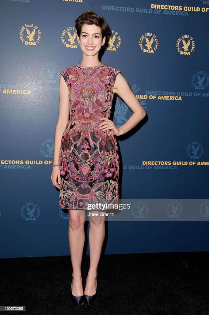 Presenter <a gi-track='captionPersonalityLinkClicked' href=/galleries/search?phrase=Anne+Hathaway+-+Actrice&family=editorial&specificpeople=11647173 ng-click='$event.stopPropagation()'>Anne Hathaway</a> poses in the press room at the 65th Annual Directors Guild Of America Awards at The Ray Dolby Ballroom at Hollywood & Highland Center on February 2, 2013 in Hollywood, California.