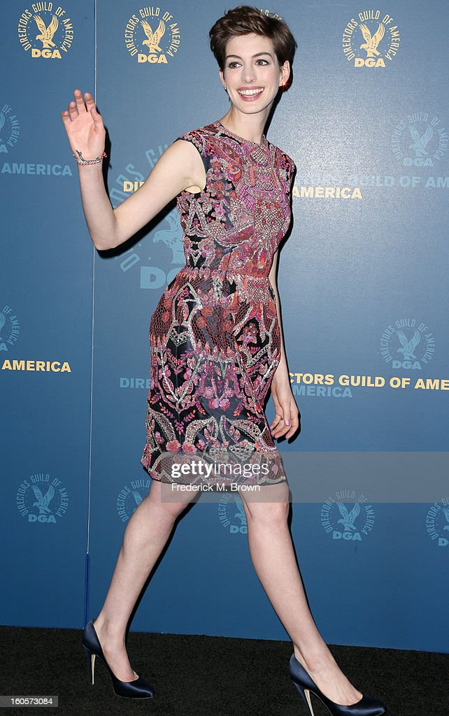 Presenter <a gi-track='captionPersonalityLinkClicked' href=/galleries/search?phrase=Anne+Hathaway+-+Actress&family=editorial&specificpeople=11647173 ng-click='$event.stopPropagation()'>Anne Hathaway</a> poses in the press room during the 65th Annual Directors Guild Of America Awards at Ray Dolby Ballroom at Hollywood & Highland on February 2, 2013 in Los Angeles, California.