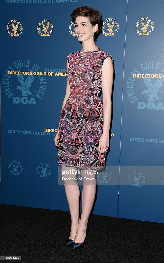 Presenter Anne Hathaway poses in the press room during the 65th Annual Directors Guild Of America Awards at Ray Dolby Ballroom at Hollywood & Highland on February 2, 2013 in Los Angeles, California.
