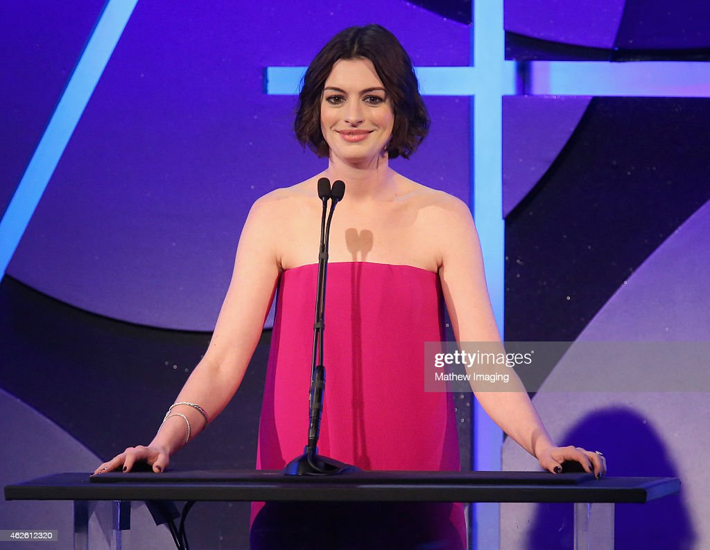 Presenter Anne Hathaway speaks onstage during the 19th Annual Art Directors Guild Excellence In Production Design Awards at The Beverly Hilton Hotel...