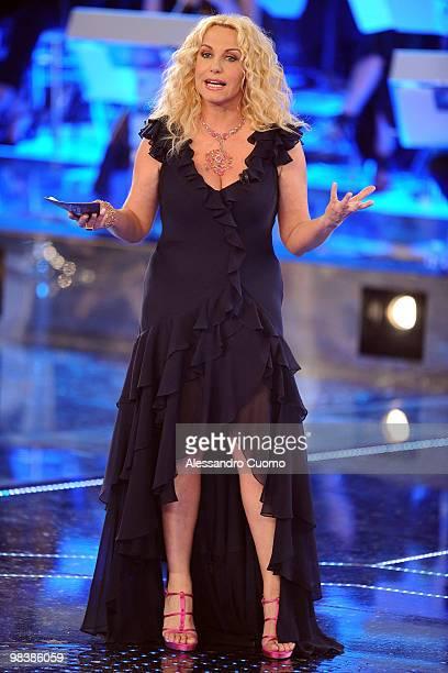 TV presenter Antonella Clerici attends 'Ti Lascio Una Canzone' Italian TV Show at the Auditorium on April 10 2010 in Naples Italy