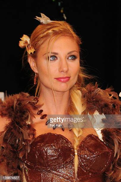 TV presenter Ariane Brodier dressed by Maison Bonnat and Valerie Pache attends the Salon Du Chocolat 2010 Opening Night at the Parc des Expositions...