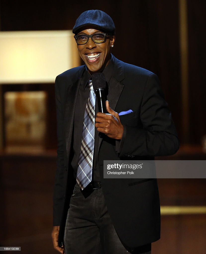 Presenter <a gi-track='captionPersonalityLinkClicked' href=/galleries/search?phrase=Arsenio+Hall&family=editorial&specificpeople=211441 ng-click='$event.stopPropagation()'>Arsenio Hall</a> speaks onstage at Spike TV's 'Eddie Murphy: One Night Only' at the Saban Theatre on November 3, 2012 in Beverly Hills, California.