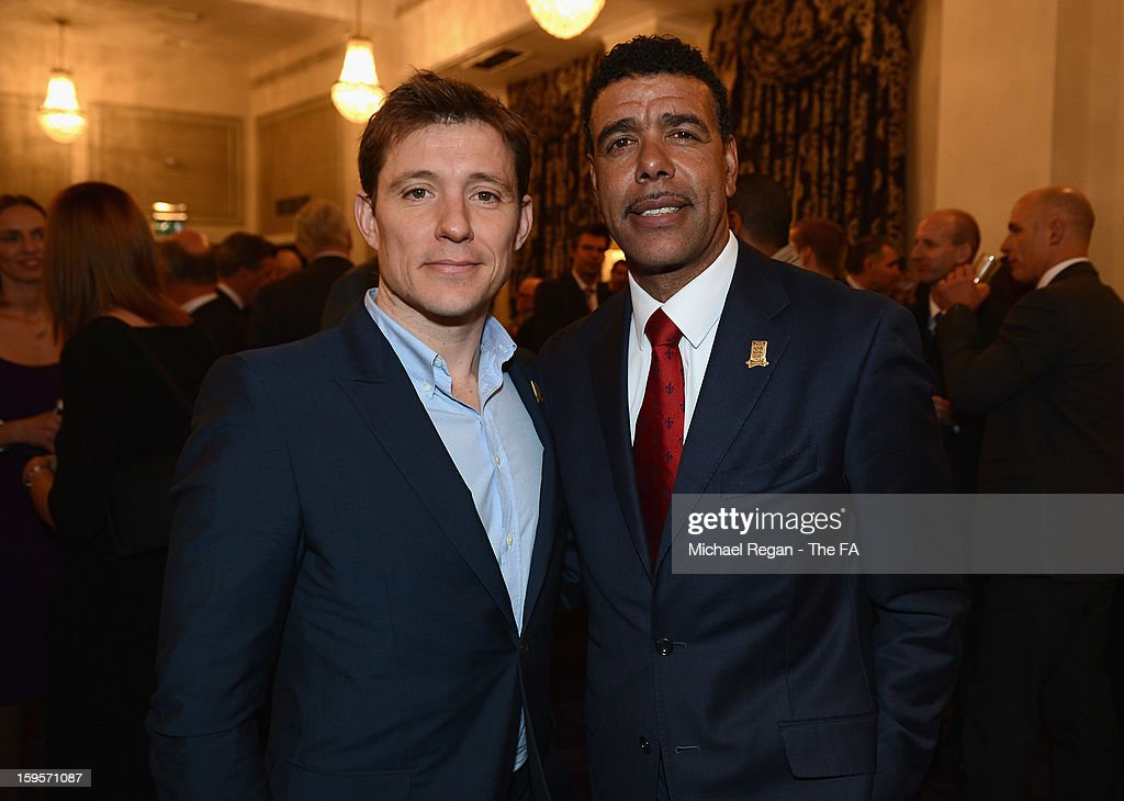TV presenter Ben Shephard (L) and football commentator Chris Kamara attend the official launch to mark the FA's 150th Anniversary Year at the Grand Connaught Rooms on January 16, 2013 in London, England.