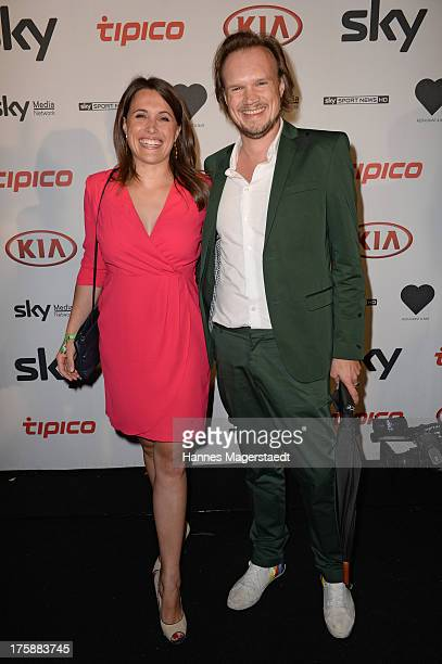 Presenter Birgit Noessing and Timo Petersen attend the Sky Bundesliga Season Opening Party at Heart on August 9 2013 in Munich Germany