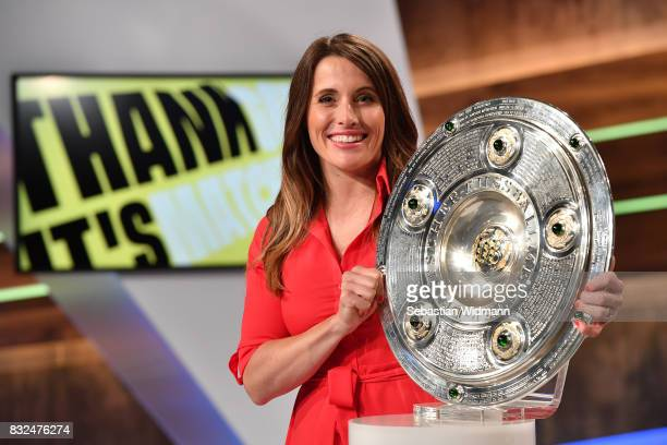 Presenter Birgit Noessing poses for a picture during the Eurosport Bundesliga Media Day on August 16 2017 in Unterfohring Germany