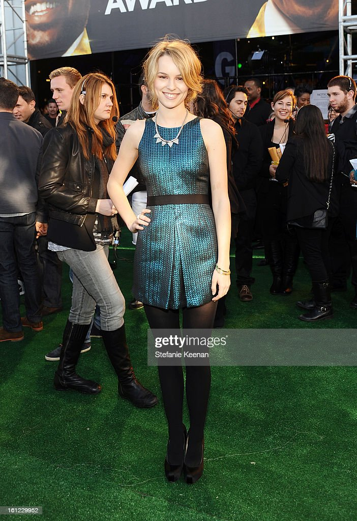 Presenter Bridgit Mendler attends the Third Annual Hall of Game Awards hosted by Cartoon Network at Barker Hangar on February 9, 2013 in Santa Monica, California. 23270_002_SK_0907.JPG