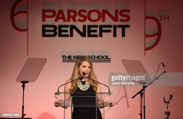 Presenter Brittany Underwood speaks on stage during the 69th Annual Parsons Benefit at Pier 60 on May 22 2017 in New York City
