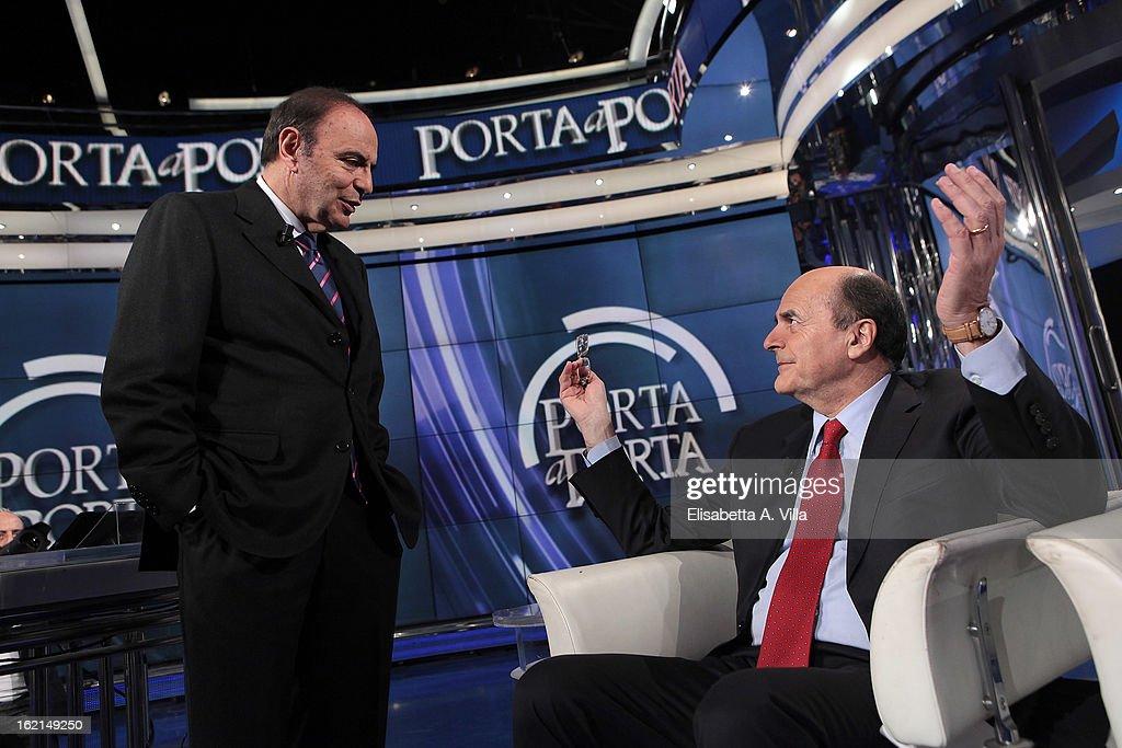 TV presenter Bruno Vespa and Pier Luigi Bersani leader of the Italian centreleft Democratic Party attend 'Porta A Porta' TV Show on February 19 2013...