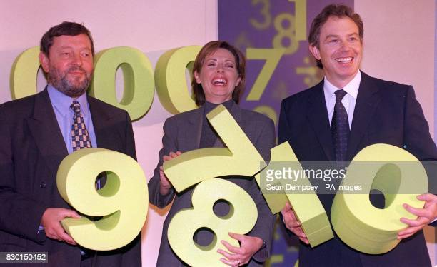 TV presenter Carol Vorderman flanked by Education Secretary David Blunkett and Prime Minister Tony Blair at London's QE II Centre where they launched...