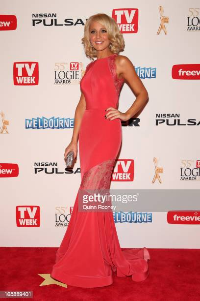 Presenter Carrie Bickmore arrives at the 2013 Logie Awards at the Crown Palladium on April 7 2013 in Melbourne Australia