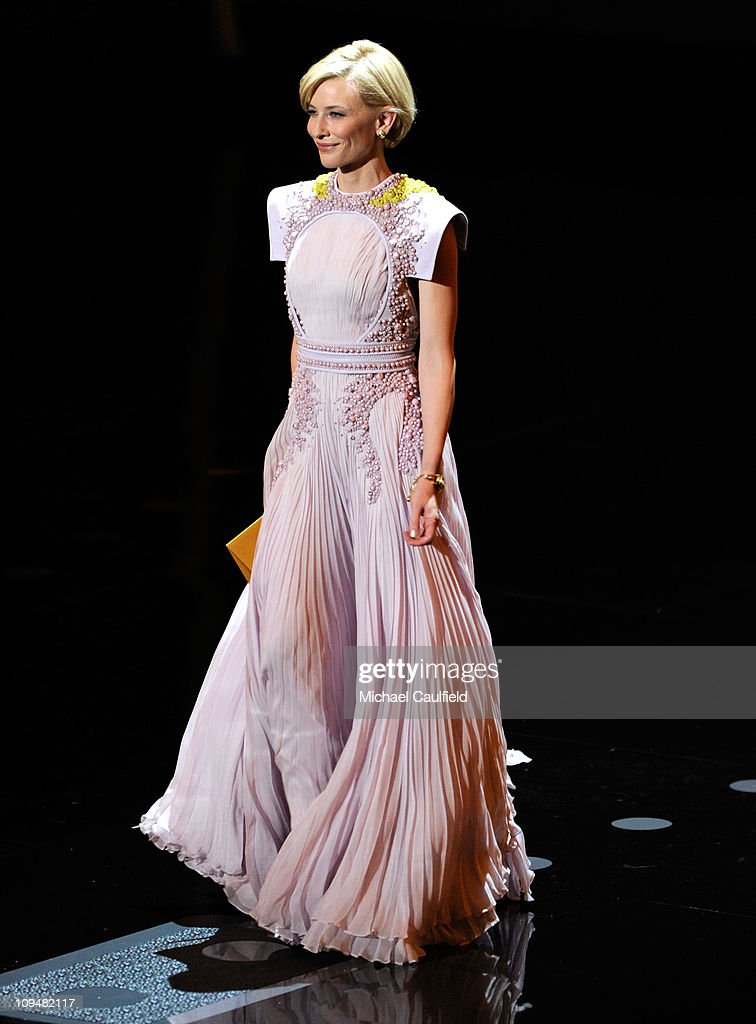 Presenter <a gi-track='captionPersonalityLinkClicked' href=/galleries/search?phrase=Cate+Blanchett&family=editorial&specificpeople=201621 ng-click='$event.stopPropagation()'>Cate Blanchett</a> speaks onstage during the 83rd Annual Academy Awards held at the Kodak Theatre on February 27, 2011 in Hollywood, California.