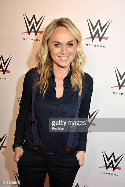TV presenter Cecile de Menibus attends 'WLIVE REVENGE' Wrestlemania Show Party at Hotel Accor Arena Bercy on April 22 2016 in Paris France