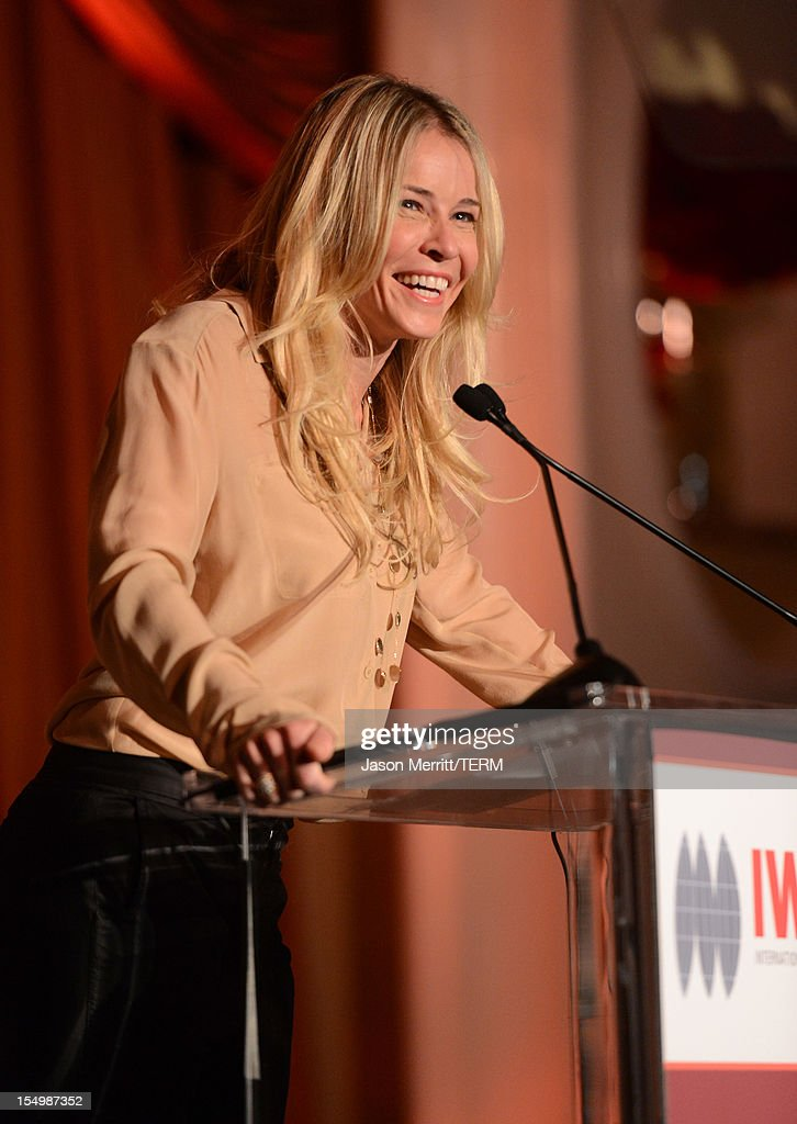 Presenter Chelsea Handler speaks onstage during the 2012 Courage in Journalism Awards hosted by the International Women's Media Foundation held at the Beverly Hills Hotel on October 29, 2012 in Beverly Hills, California.