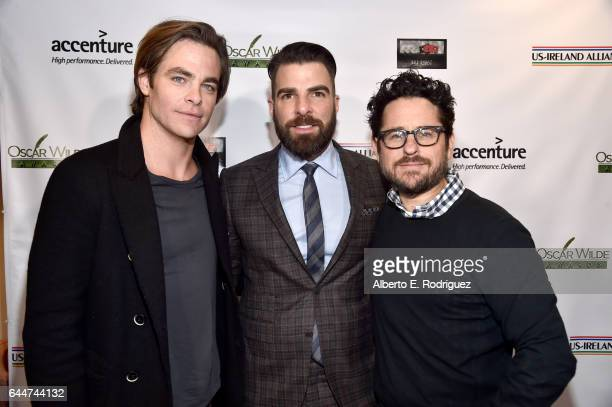Presenter Chis Pine honoree Zachary Quinto and director JJ Abrams attend the 12th Annual USIreland Aliiance's Oscar Wilde Awards event at Bad Robot...