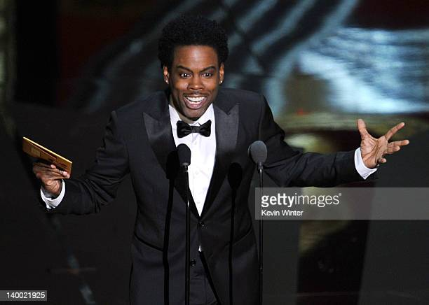 Presenter Chris Rock speaks onstage during the 84th Annual Academy Awards held at the Hollywood Highland Center on February 26 2012 in Hollywood...