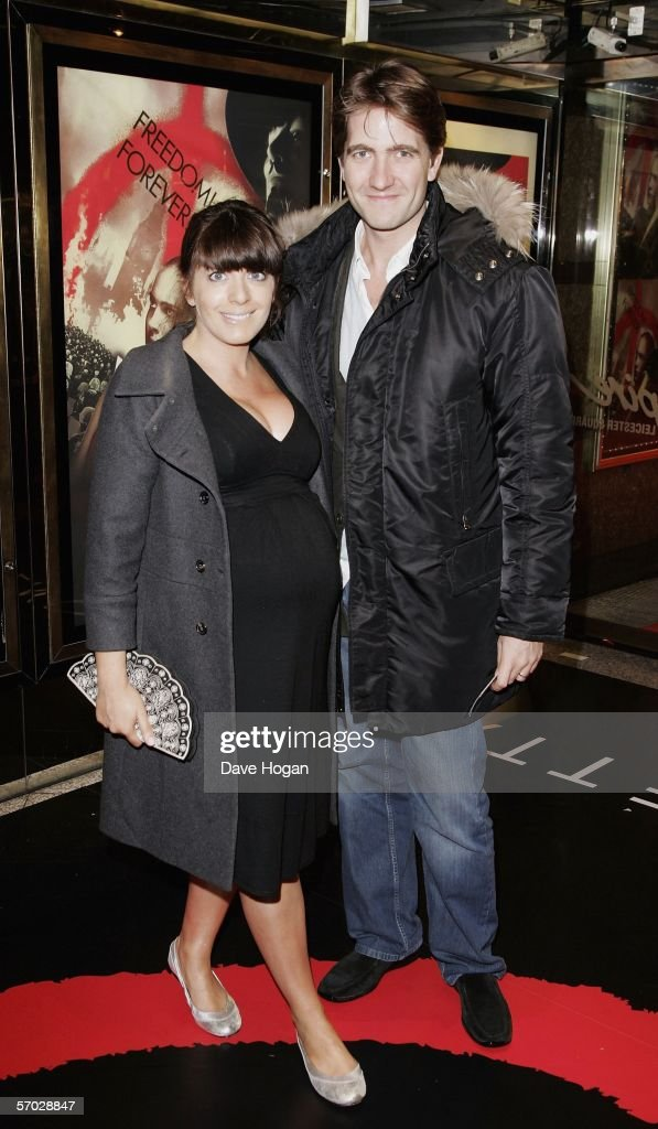TV presenter <a gi-track='captionPersonalityLinkClicked' href=/galleries/search?phrase=Claudia+Winkleman&family=editorial&specificpeople=224036 ng-click='$event.stopPropagation()'>Claudia Winkleman</a> and her husband Kris Thykier of Freud Communications arrive at the UK Premiere of 'V For Vendetta' at the Empire Leicester Square on March 8, 2006 in London, England. The film is based on the Alan Moore book and is written and co-produced by The Matrix producers Andy and Larry Wachowski.