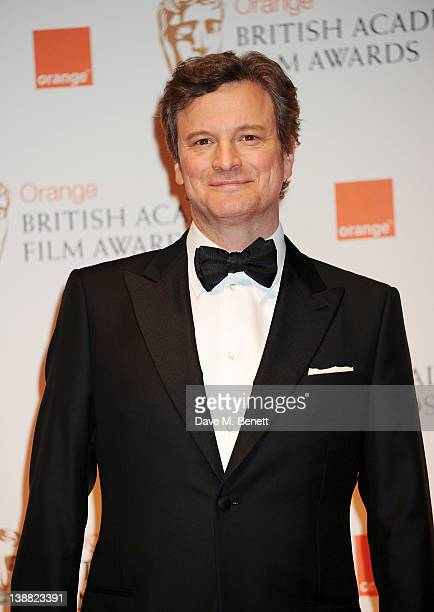 Presenter Colin Firth poses in the press room at the Orange British Academy Film Awards 2012 at The Royal Opera House on February 12 2012 in London...