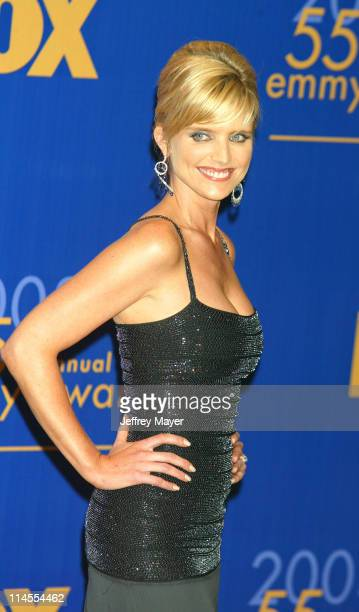 Presenter Courtney ThorneSmith during The 55th Annual Primetime Emmy Awards Press Room at The Shrine Theater in Los Angeles California United States