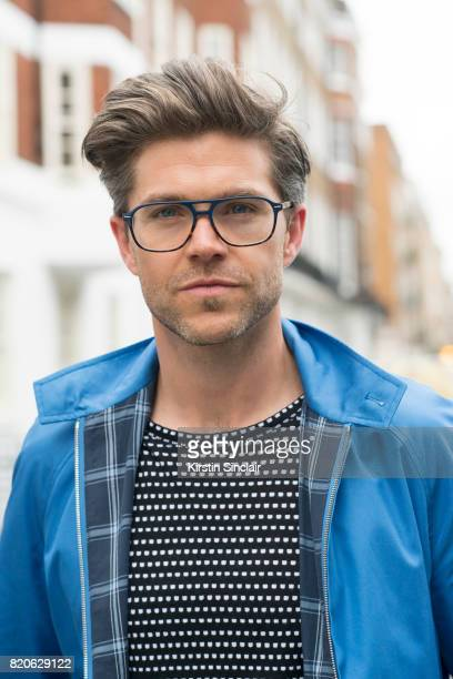TV presenter Darren Kennedy wears a Grenfeld jacket Soul Land t shirt and Specsavers glasses on day 3 of London Collections Men on June 12 2017 in...