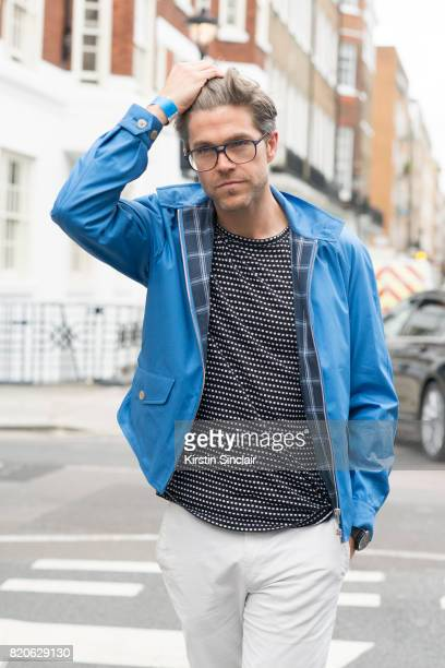 TV presenter Darren Kennedy wears a Grenfeld jacket Soul Land t shirt Reiss trousers Specsavers glasses on day 3 of London Collections Men on June 12...