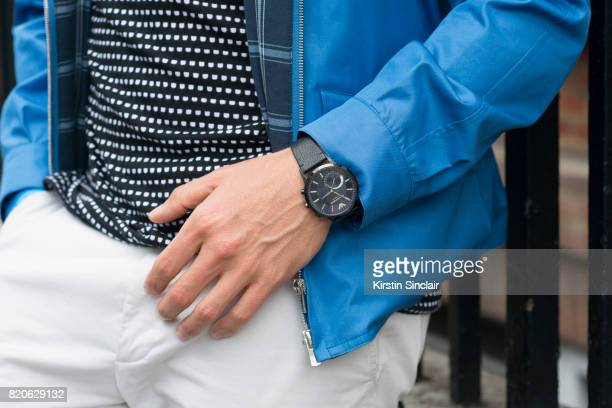 TV presenter Darren Kennedy wears a Grenfeld jacket Soul Land t shirt Reiss trousers an Emporio Armani watch on day 3 of London Collections Men on...