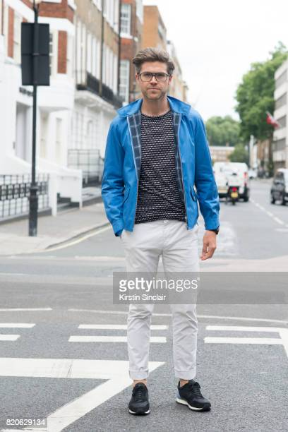 TV presenter Darren Kennedy wears a Grenfeld jacket Soul Land t shirt Reiss trousers Kurt Geiger trainers Specsavers glasses on day 3 of London...