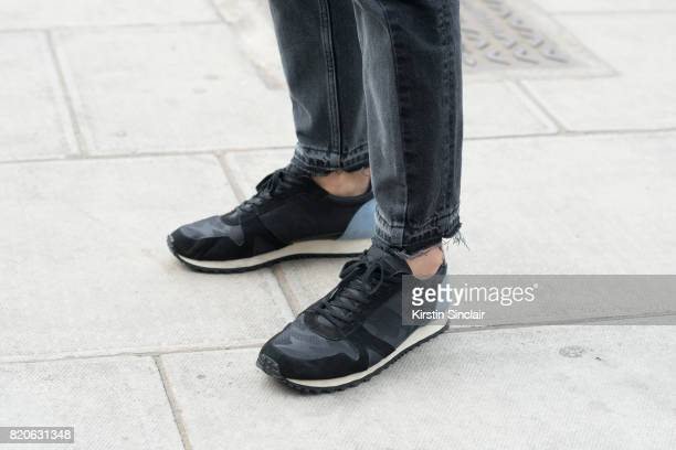 TV presenter Darren Kennedy wears Kurt Geiger trainers and Acne jeans on day 3 of London Collections Men on June 12 2017 in Paris France