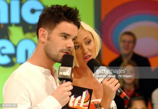 MTV presenter Dave Berry with Jenny Frost from Atomic Kitten during their guest appearance on MTV's TRL UK at the MTV Studios in Camden north London...