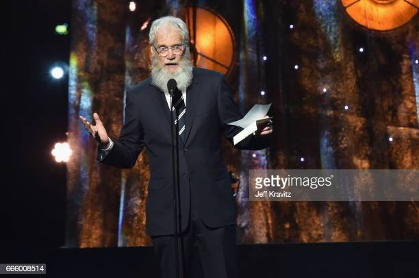 Presenter David Letterman onstage at the 32nd Annual Rock Roll Hall Of Fame Induction Ceremony at Barclays Center on April 7 2017 in New York City...