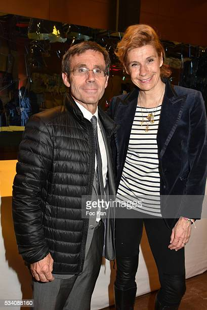 TV presenter David Pujadas and Frigide Barjot attend the Atlantico 5th Anniversary at Cafe Campana in Musee D'Orsay on May 24 2016 in Paris France