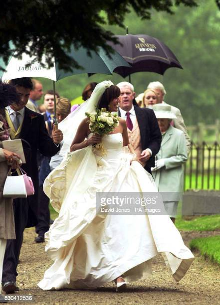 TV presenter Davina McCall prior to her marriage to Matthew Robertson at the St John the Baptist church Eastnor near Ledbury Ms McCall was wearing a...