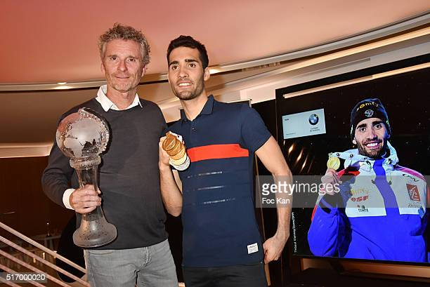 TV presenter Denis Brogniart from Koh Lanta and Biathlon Champion Martin Fourcade attend the Biathlon Champion Martin Fourcade Press Conference at...