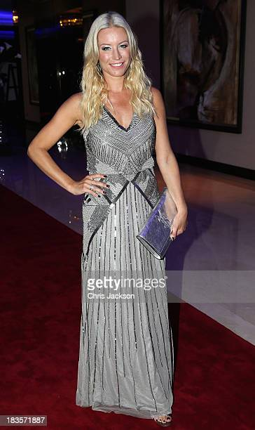 Presenter Denise Van Outen attends a reception ahead of the Sentable 'Forget Me Not' dinner on October 7 2013 in Dubai United Arab Emirates The...