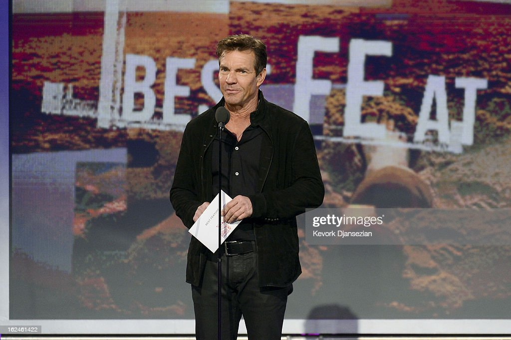 Presenter <a gi-track='captionPersonalityLinkClicked' href=/galleries/search?phrase=Dennis+Quaid&family=editorial&specificpeople=201916 ng-click='$event.stopPropagation()'>Dennis Quaid</a> speaks onstage during the 2013 Film Independent Spirit Awards at Santa Monica Beach on February 23, 2013 in Santa Monica, California.