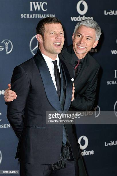 Presenter Dermot O'Leary and athlete Jonathan Edwards attend the 2012 Laureus World Sports Awards at Central Hall Westminster on February 6 2012 in...