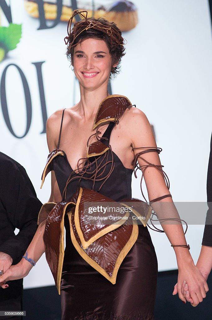 TV presenter Eglantine Emeye walks the runway and wears 'Daphne' a chocolate dress made by designer Maria Boyarovskaya and chocolate maker Jean-Paul Hevin during the Fashion Chocolate Show at Salon du Chocolat at Porte de Versailles, in Paris.