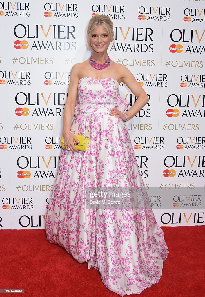Presenter Emilia Fox poses in the winners room at The Olivier Awards at The Royal Opera House on April 12 2015 in London England