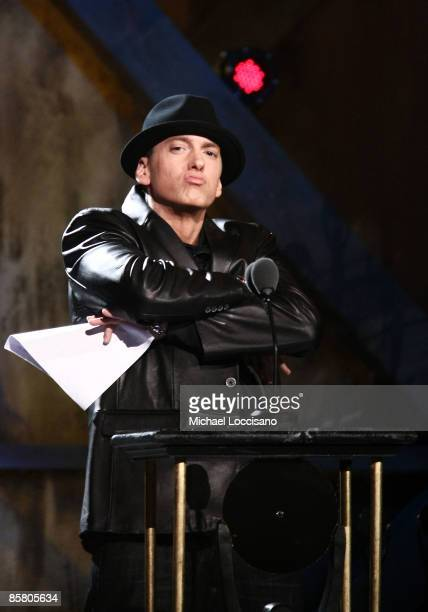 Presenter Eminem speaks onstage during the 24th Annual Rock and Roll Hall of Fame Induction Ceremony at Public Hall on April 4 2009 in Cleveland Ohio