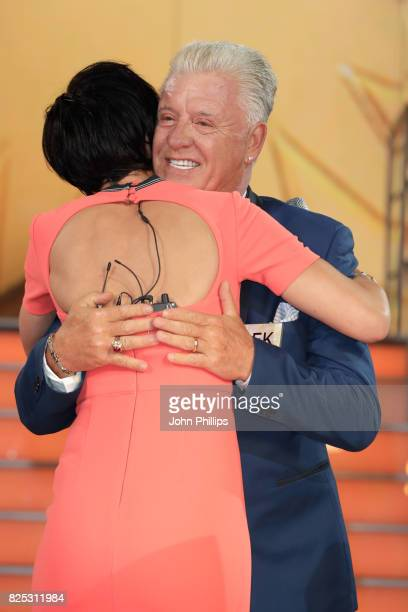Presenter Emma Willis interviews Derek Acorah before he enters the Big Brother House for the Celebrity Big Brother launch at Elstree Studios on...