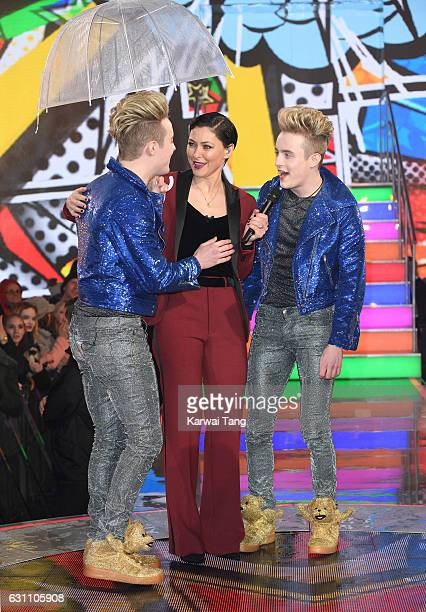 Presenter Emma Willis with Jedward who entered the Celebrity Big Brother house at Elstree Studios on January 6 2017 in Borehamwood United Kingdom