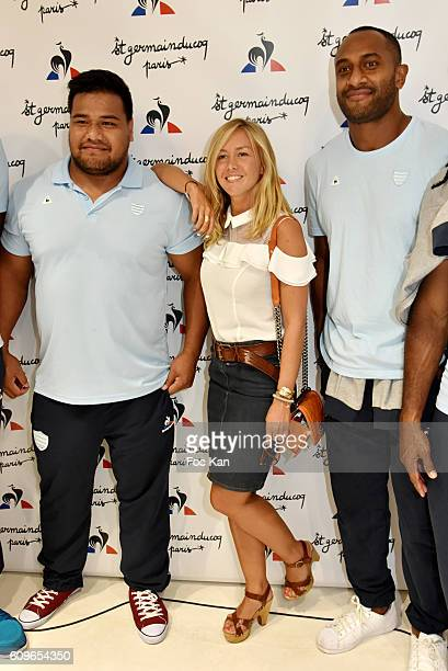 TV presenter Enora Malagre and rugbymen from RC92 attend the Coq Sportif Boutique Opening Party on September 21 2016 in Paris France