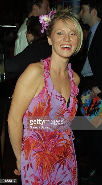 TV presenter Esther McVey attends the party for the new season of the dance hit 'Riverdance' at the Hammersmith Apollo London May 2002