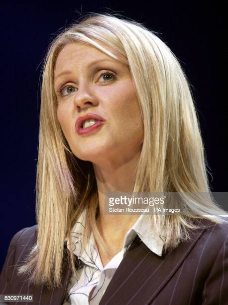 TV presenter Esther McVey speaks during a debate on 'One Nation' during the second day of the Conservative Party Conference in Bournemouth 25/10/03...