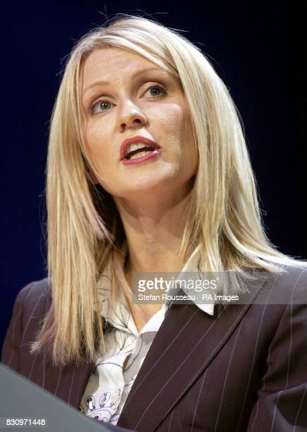 TV presenter Esther McVey speaks during a debate on 'One Nation' during the second day of the Conservative Party Conference in Bournemouth